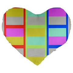 Maximum Color Rainbow Red Blue Yellow Grey Pink Plaid Flag Large 19  Premium Flano Heart Shape Cushions