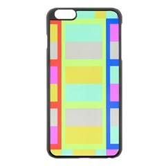 Maximum Color Rainbow Red Blue Yellow Grey Pink Plaid Flag Apple Iphone 6 Plus/6s Plus Black Enamel Case