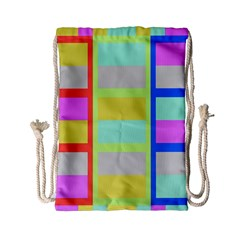 Maximum Color Rainbow Red Blue Yellow Grey Pink Plaid Flag Drawstring Bag (small) by Alisyart