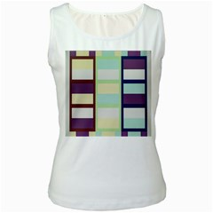 Maximum Color Rainbow Brown Blue Purple Grey Plaid Flag Women s White Tank Top