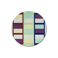 Maximum Color Rainbow Brown Blue Purple Grey Plaid Flag Magnet 3  (round) by Alisyart