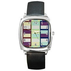 Maximum Color Rainbow Brown Blue Purple Grey Plaid Flag Square Metal Watch by Alisyart