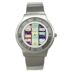 Maximum Color Rainbow Brown Blue Purple Grey Plaid Flag Stainless Steel Watch by Alisyart