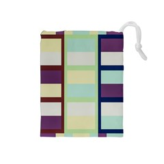 Maximum Color Rainbow Brown Blue Purple Grey Plaid Flag Drawstring Pouches (medium)