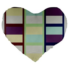 Maximum Color Rainbow Brown Blue Purple Grey Plaid Flag Large 19  Premium Flano Heart Shape Cushions