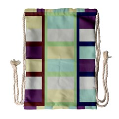 Maximum Color Rainbow Brown Blue Purple Grey Plaid Flag Drawstring Bag (large) by Alisyart