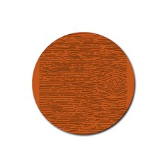 Illustration Orange Grains Line Rubber Round Coaster (4 Pack)