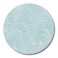 Leaf Blue Round Mousepads by Alisyart