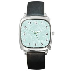 Leaf Blue Square Metal Watch