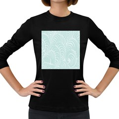 Leaf Blue Women s Long Sleeve Dark T-shirts by Alisyart