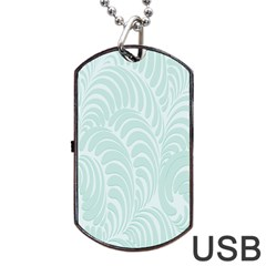 Leaf Blue Dog Tag Usb Flash (one Side) by Alisyart