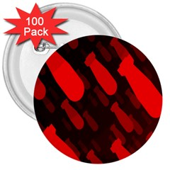 Missile Rockets Red 3  Buttons (100 Pack)  by Alisyart