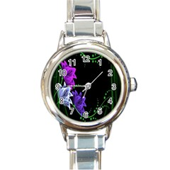 Neon Flowers Floral Rose Light Green Purple White Pink Sexy Round Italian Charm Watch