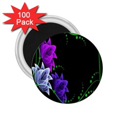 Neon Flowers Floral Rose Light Green Purple White Pink Sexy 2 25  Magnets (100 Pack)  by Alisyart