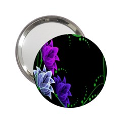 Neon Flowers Floral Rose Light Green Purple White Pink Sexy 2 25  Handbag Mirrors