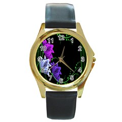 Neon Flowers Floral Rose Light Green Purple White Pink Sexy Round Gold Metal Watch by Alisyart