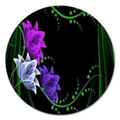 Neon Flowers Floral Rose Light Green Purple White Pink Sexy Magnet 5  (round)