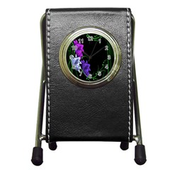 Neon Flowers Floral Rose Light Green Purple White Pink Sexy Pen Holder Desk Clocks by Alisyart