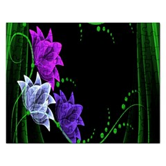 Neon Flowers Floral Rose Light Green Purple White Pink Sexy Rectangular Jigsaw Puzzl by Alisyart