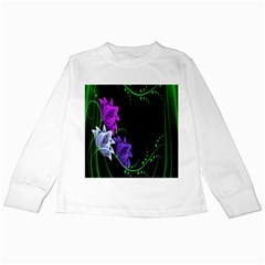Neon Flowers Floral Rose Light Green Purple White Pink Sexy Kids Long Sleeve T Shirts by Alisyart