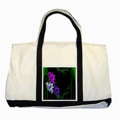 Neon Flowers Floral Rose Light Green Purple White Pink Sexy Two Tone Tote Bag