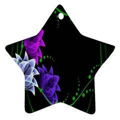 Neon Flowers Floral Rose Light Green Purple White Pink Sexy Star Ornament (two Sides)