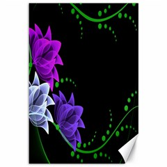 Neon Flowers Floral Rose Light Green Purple White Pink Sexy Canvas 12  X 18   by Alisyart