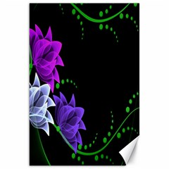 Neon Flowers Floral Rose Light Green Purple White Pink Sexy Canvas 20  X 30   by Alisyart