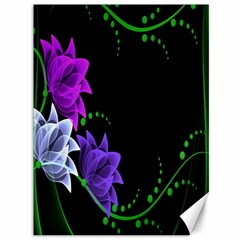 Neon Flowers Floral Rose Light Green Purple White Pink Sexy Canvas 36  X 48   by Alisyart