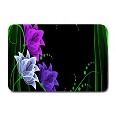 Neon Flowers Floral Rose Light Green Purple White Pink Sexy Plate Mats