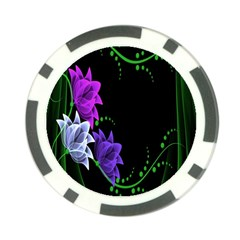 Neon Flowers Floral Rose Light Green Purple White Pink Sexy Poker Chip Card Guard by Alisyart