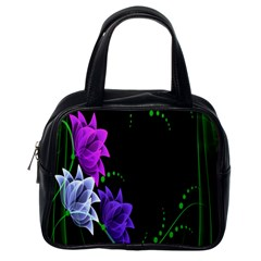 Neon Flowers Floral Rose Light Green Purple White Pink Sexy Classic Handbags (one Side) by Alisyart