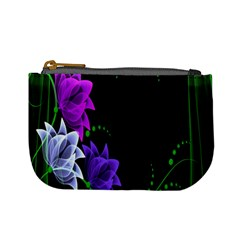 Neon Flowers Floral Rose Light Green Purple White Pink Sexy Mini Coin Purses