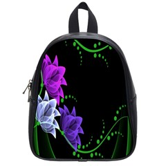 Neon Flowers Floral Rose Light Green Purple White Pink Sexy School Bags (small)  by Alisyart