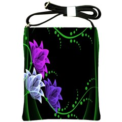 Neon Flowers Floral Rose Light Green Purple White Pink Sexy Shoulder Sling Bags by Alisyart