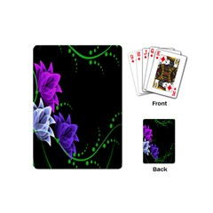 Neon Flowers Floral Rose Light Green Purple White Pink Sexy Playing Cards (mini)  by Alisyart