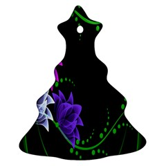 Neon Flowers Floral Rose Light Green Purple White Pink Sexy Christmas Tree Ornament (two Sides)