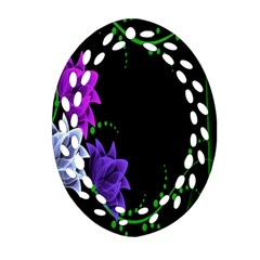 Neon Flowers Floral Rose Light Green Purple White Pink Sexy Oval Filigree Ornament (two Sides)
