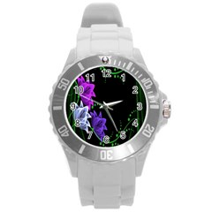 Neon Flowers Floral Rose Light Green Purple White Pink Sexy Round Plastic Sport Watch (l) by Alisyart