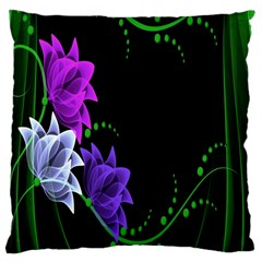 Neon Flowers Floral Rose Light Green Purple White Pink Sexy Large Cushion Case (two Sides) by Alisyart