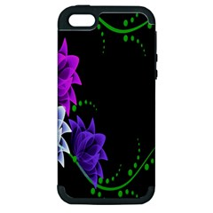 Neon Flowers Floral Rose Light Green Purple White Pink Sexy Apple Iphone 5 Hardshell Case (pc+silicone)