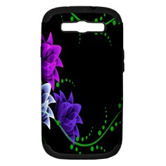 Neon Flowers Floral Rose Light Green Purple White Pink Sexy Samsung Galaxy S Iii Hardshell Case (pc+silicone)