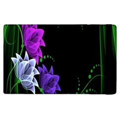 Neon Flowers Floral Rose Light Green Purple White Pink Sexy Apple Ipad 2 Flip Case by Alisyart
