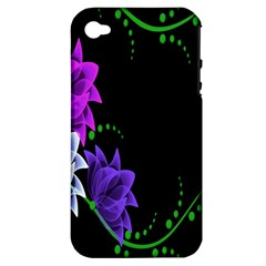 Neon Flowers Floral Rose Light Green Purple White Pink Sexy Apple Iphone 4/4s Hardshell Case (pc+silicone)