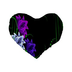 Neon Flowers Floral Rose Light Green Purple White Pink Sexy Standard 16  Premium Heart Shape Cushions