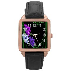 Neon Flowers Floral Rose Light Green Purple White Pink Sexy Rose Gold Leather Watch  by Alisyart
