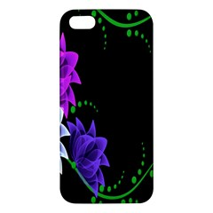 Neon Flowers Floral Rose Light Green Purple White Pink Sexy Apple Iphone 5 Premium Hardshell Case