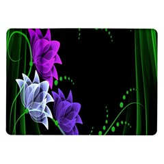 Neon Flowers Floral Rose Light Green Purple White Pink Sexy Samsung Galaxy Tab 10 1  P7500 Flip Case