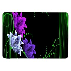 Neon Flowers Floral Rose Light Green Purple White Pink Sexy Samsung Galaxy Tab 8 9  P7300 Flip Case by Alisyart