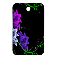 Neon Flowers Floral Rose Light Green Purple White Pink Sexy Samsung Galaxy Tab 3 (7 ) P3200 Hardshell Case  by Alisyart